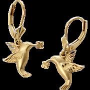 Signed 14K Gold Hummingbird Leverback Pierced Earrings