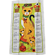 1973 Colorful Cat and Kitten Linen Tea Towel Calendar Wall Hanging