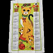 1973 Colorful Cat and Kitten Linen Tea Towel Calendar