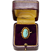 14 K Gold Victorian Era Persian Turquoise Cannetille Ring