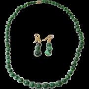 "21"" Long Green Malachite Bead Necklace with Pierced Dangle Earrings"