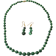 "21"" Long Green Malachite Bead Necklace with Pierced Dangle Earrings"
