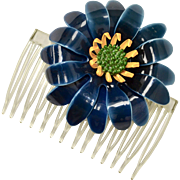 Large Navy Blue & Yellow Enamel Flower Hair Comb Adornment