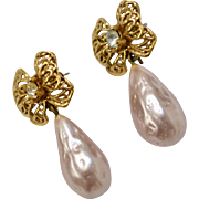 Pearly Pink Faux Pearl Teardrop Rhinestone Bow Pierced Dangle Earrings