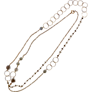 Long Sterling Vermeil Gemstone & Glass Bead Circle Necklace