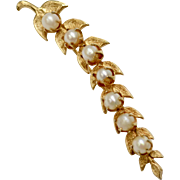Long Gold Plated Leaf & Faux White Pearl Berry Bar Pin/Brooch