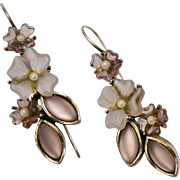 Pink Satin Glass & White Seed Pearl Flower French Hook Earrings
