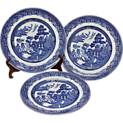 "Johnson Brothers Blue Willow Set of 3 10"" Dinner Plates"