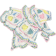 Pastel Blue, Pink & Yellow Heart White Ruffled Crochet Baby Blanket