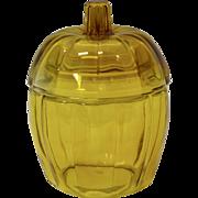 Anchor Hocking Amber Glass Pumpkin Jar with Lid