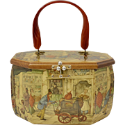 "Anton Pieck ""To Market"" Decoupage Wood Octagonal Box Purse"