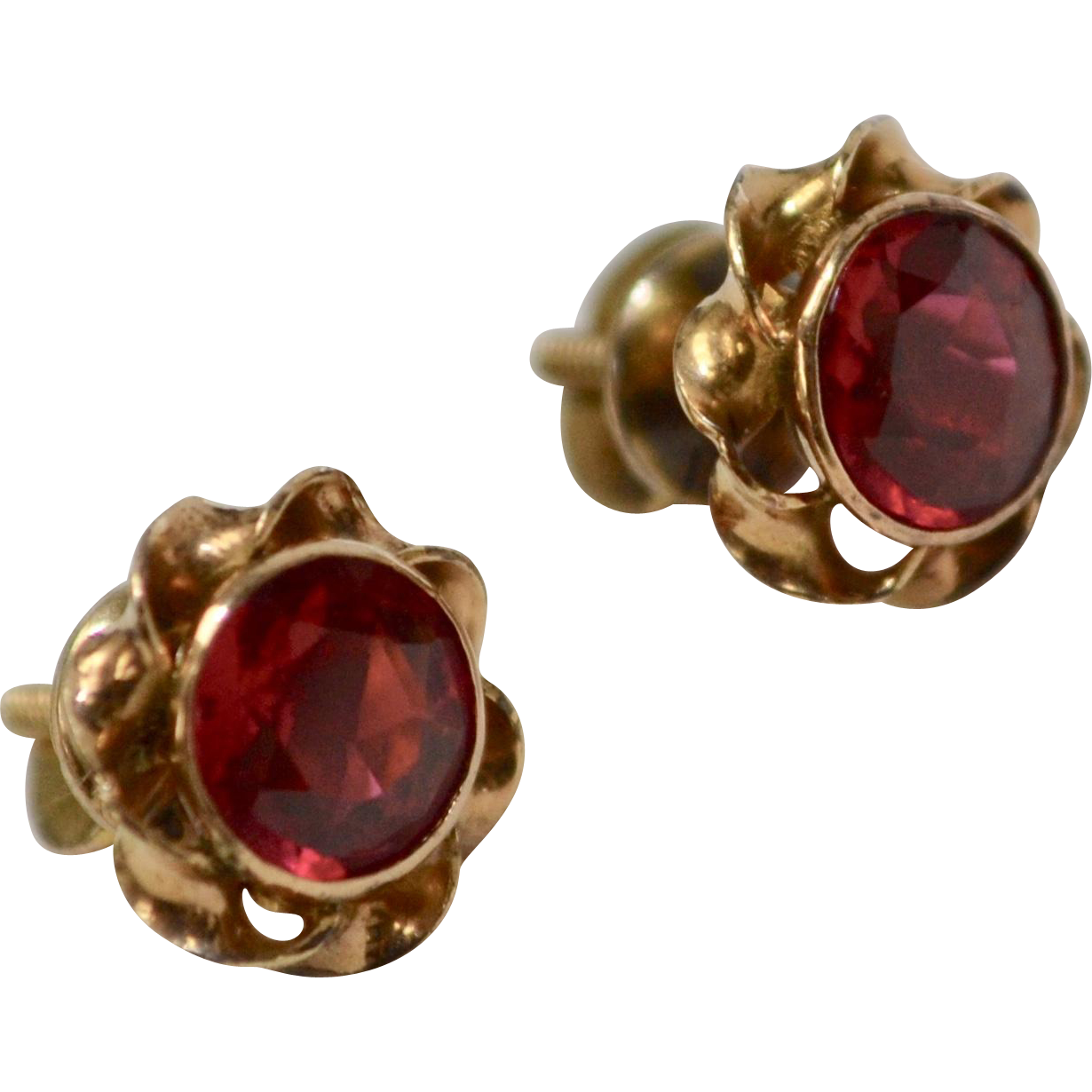 10k Gold Victorian Era Bezel Set Synthetic Red Ruby Screw-back Post Earrings