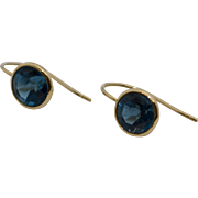 Signed 14k Gold Bezel Set Blue Topaz French Hook Earrings