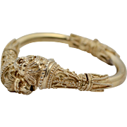Heavy Sterling Silver Gold Overlay Etruscan Style Lion Head Bypass Hinged Bangle Bracelet