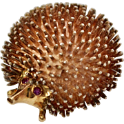 14k Gold & Sterling Silver Hedgehog/Porcupine with Ruby Eyes Figural Pin