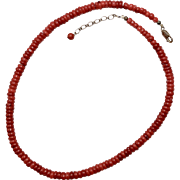 Natural Red Mediterranean Coral Necklace w/ Sterling Silver Clasp