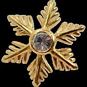 Goldtone Snowflake w/ Clear Rhinestone Tie Tack Pin