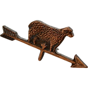 Tiny Sheep on Arrow Weathervane Copper Colored Tie Tack Pin - Too Cute!