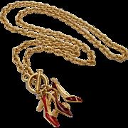 "Bob Mackie Signed 29"" Long Red Enamel High Heel Shoe Pendant Necklace"