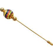 Murano Venetian Glass Handcrafted Swirled Gold, Red, Blue & Green Glass Hat Stick Pin on Original Card