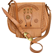 Genuine Raw Leather Brass Studs & Fringe Southwestern Style Messenger Bag Crossbody Shoulder Purse
