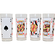Set of 4 Playing Cards Poker Tumbler Drinking Glasses