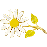 Circa 1960s Enamel White and Yellow Daisy Flower Brooch/Pin