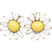 Circa 1960s Enamel White and Yellow Daisy Earrings