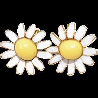 Circa 1960s Enamel White and Yellow Daisy Earrings