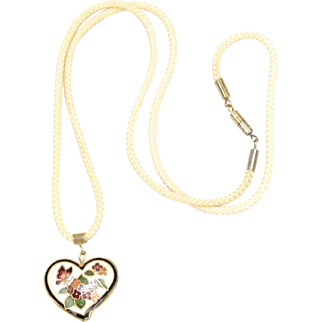 Double-sided Cloisonne Butterfly and Flower Puffy Heart Pendant Necklace