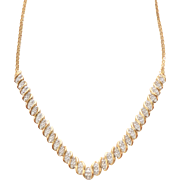 Sterling Silver Vermeil Diamond Chip Focal Point Serpentine Necklace