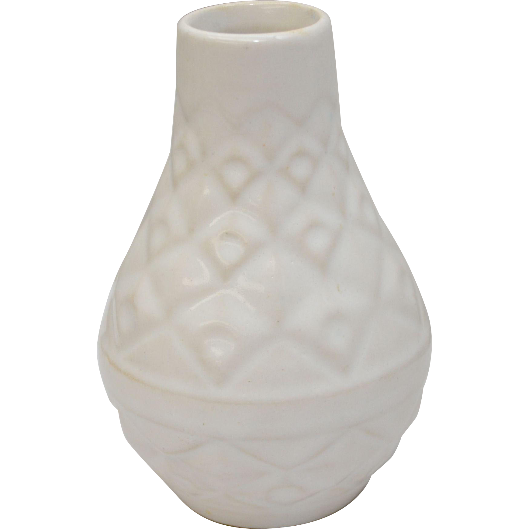 """White Glazed Ceramic Small Mid-Century Pottery Vase Stamped """"W. Germany LL 5oz""""~Excellent Condition"""