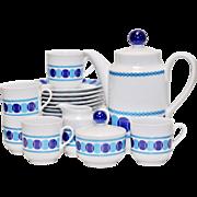 22 Piece Winterling Roslau Bavaria Germany Mid-Century Modern Blue & White Tea & Dessert Set