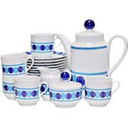 22 Piece Winterling Roslau Bavaria Germany Mid-Century Modern Blue & White Tea & Dessert Set
