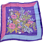 Purple and Blue Flower Hanky Square Handkerchief