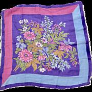 Purple and Blue Flower Hanky Square Handkerchief