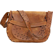 Raw Genuine Stamped Leather Southwestern Style Structured Purse