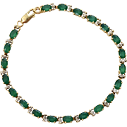 14K Gold Synthetic Emerald & Diamond Accent Link Bracelet