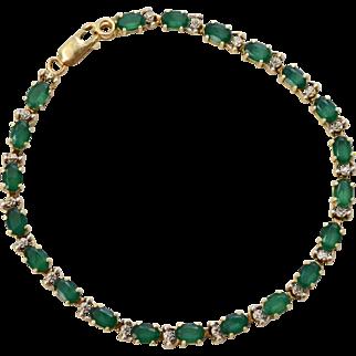 14K Gold Synthetic Emerald & Diamond Accent Link Bracelet