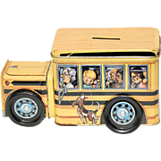 School  Bus Candy or Cookie Collectible Bank Tin with Rolling Wheels