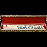 2 pairs of Chinese Light & Turquoise Blue Cloisonne &. Bone Chopsticks in Original Brocade Fabric Box