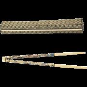 Pair of Chinese Faux Light Green Jade Cloisonne and Bone Chopsticks in Original Brocade Fabric Box