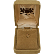 14K Gold Tiny Diamond Ring Charm in Original Velvet Box