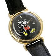 Pulsar Quartz Mickey Mouse Character Hands w/ Calendar Black Leather Wrist Watch