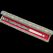 Pair of Chinese Teal Green Cloisonne & Bone Chopsticks in Original Brocade Fabric Box