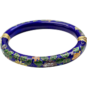 Cobalt Blue Cloisonne Enamel Flower Bangle Bracelet