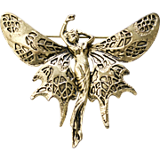 Large Brass Goldtone Art Nouveau Style Lady Butterfly Fairy Brooch/Pin