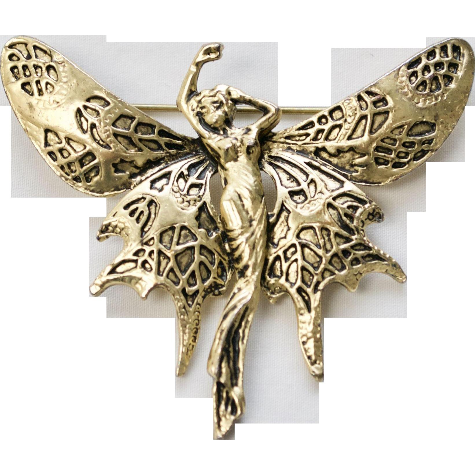 Large Brass Goldtone Art Nouveau Style Lady Butterfly Fairy Brooch/Pin