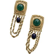 Runway Etruscan Style Green & Blue Glass Bead w/ Long Chain Dangle Clip Earrings