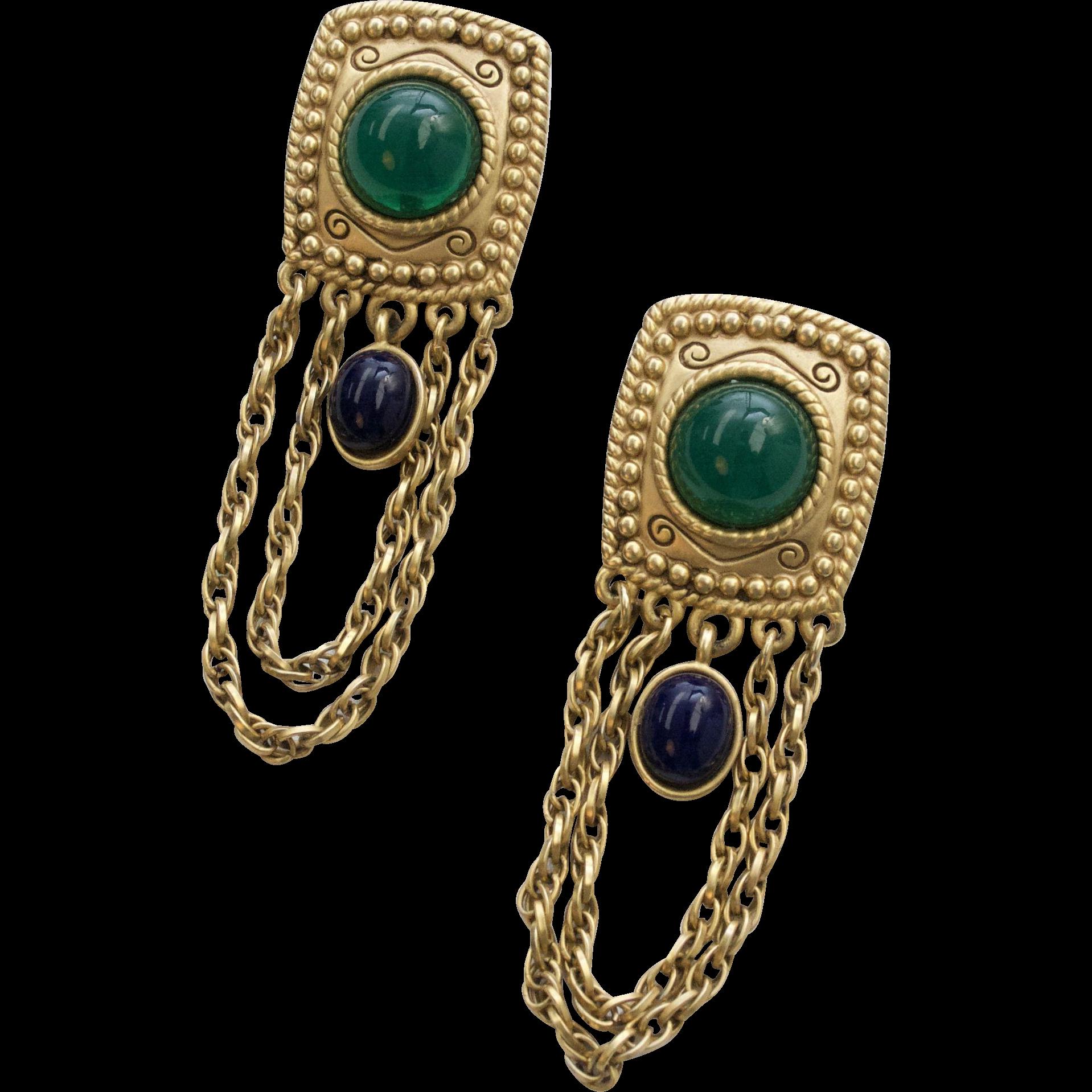 Runway Etruscan Style Green & Blue Glass Bead w/ Long Chain Dangle Clip Earrings